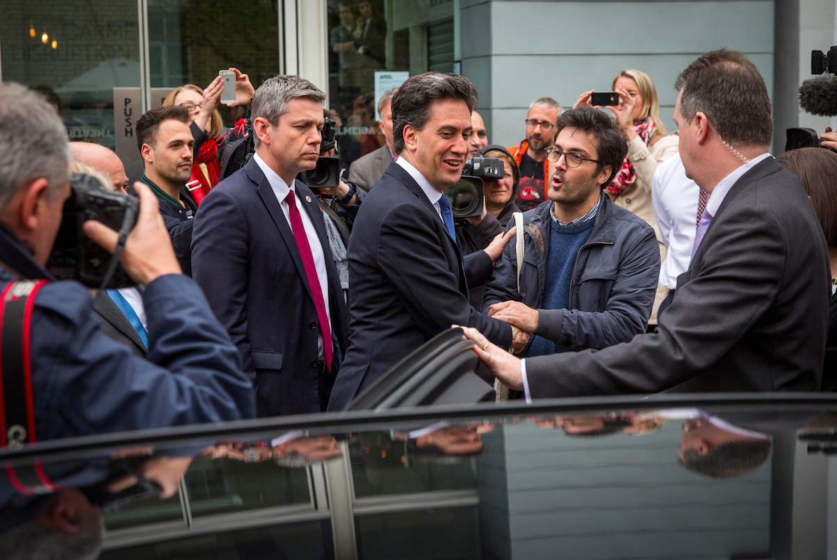 Ed Miliband is now flanked by Special Branch officers.