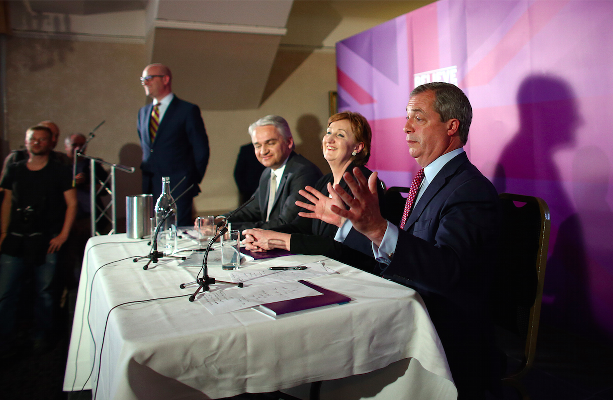 Patrick O'Flynn, seat two down from Farage, is Ukip's economic spokesman.