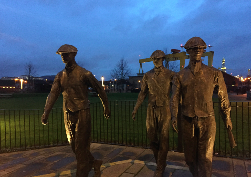 Belfast built the Titanic, an achievement commemorated by these men.