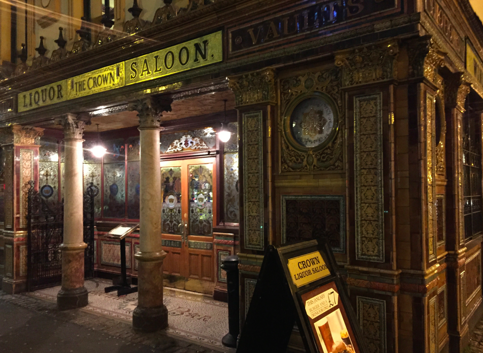 The iconic Crown Bar in Belfast's city centre.
