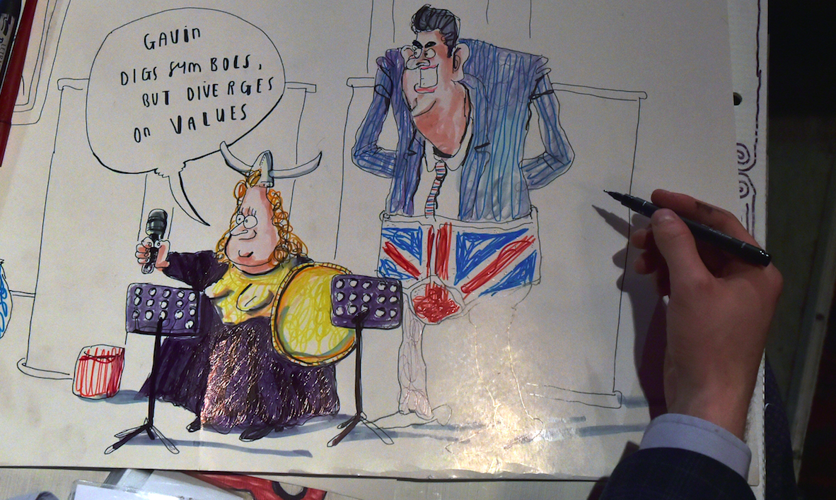 A cartoonist depicts Long, left, and her DUP challenger, Gavin Robinson.